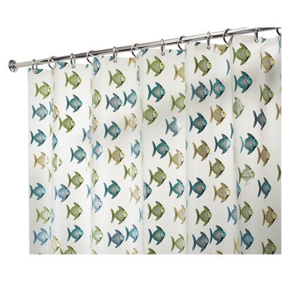 InterDesign EVA Vinyl Frost Fishy Shower Curtain
