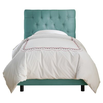 Skyline Furniture Tufted Micro-Suede Youth Bed in Azure
