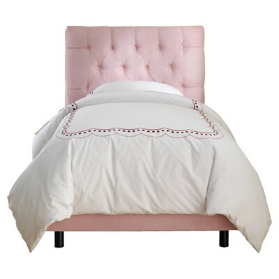 Tufted Micro-Suede Youth Bed in Light Pink