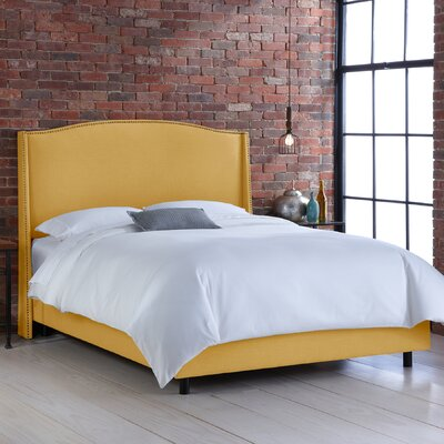 Skyline Furniture Nail Button Linen Wingback Bed