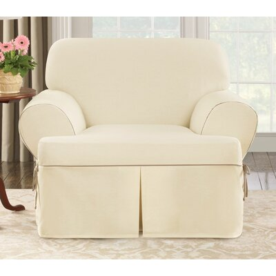 Sure-Fit Cotton Duck Club Chair T-Cushion Slipcover