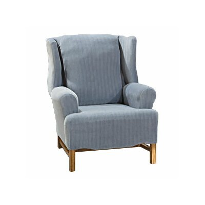 Stretch Pinstripe Wing Chair Slipcover
