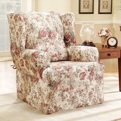 Chloe Floral Wing Chair T Cushion Skirted Slipcover