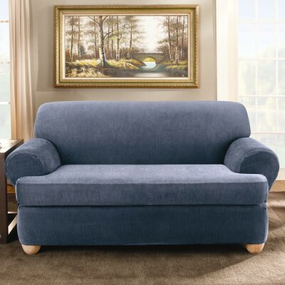 Stretch Stripe Two Piece Loveseat T-Cushion Slipcover