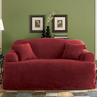 Sure-Fit Soft Suede Sofa T- Cushion Skirted Slipcover