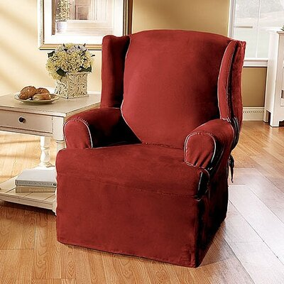 Sure-Fit Soft Suede Wing Chair T-Cushion Slipcover