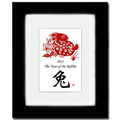 "Oriental Design Gallery 8"" x 10"" Black Satin Frame with Year of the Rabbit Print 09V"