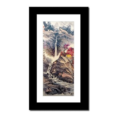 Oriental Design Gallery Mountain Waterfall and House by Lin Hung Tsung Wall Art