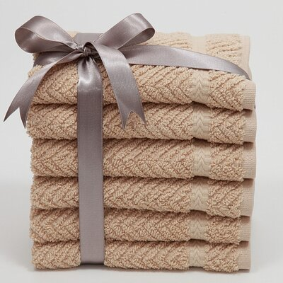 Luxury Hotel & Spa Herringbone Weave 100% Turkish Cotton Wash Cloth (Set of 6)