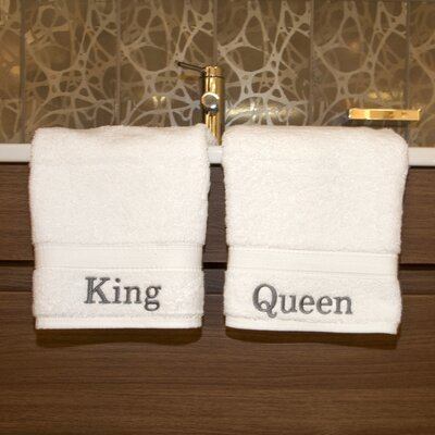 Linum Home Textiles Luxury Hotel and Spa Personalized King and Queen Hand Towel (Set of ...