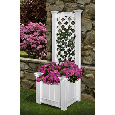 New England Arbors Cambridge Raised Planter in White