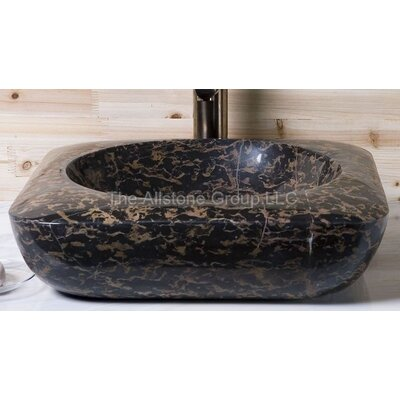 Rectangular Vessel Bathroom Sink with Round Bowl - V-V18185- New Leopard