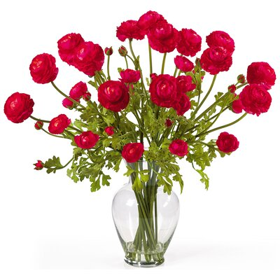 Nearly Natural Liquid Illusion Silk Ranunculus Arrangement in Red