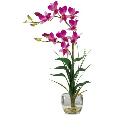 Nearly Natural Silk Dendobrium Arrangement with Glass Vase in Purple