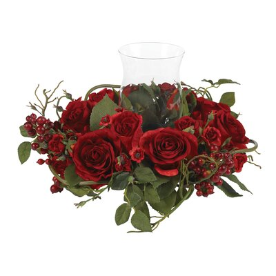 Silk Rose Arrangement Candleholder in Red