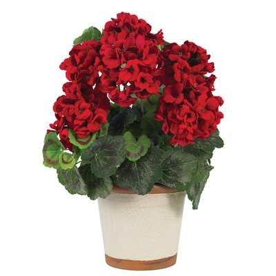 Nearly Natural Silk Geranium Plant in Red