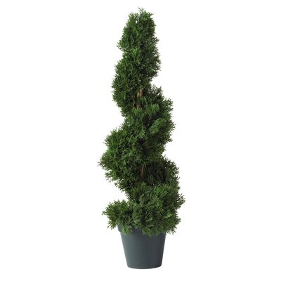 Silk Cedar Spiral Tree in Green