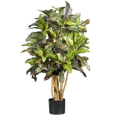 Nearly Natural Silk Croton Tree in Green