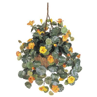 Nearly Natural Silk Nasturtium with Hanging Basket