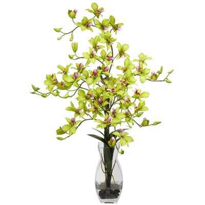 Nearly Natural Dendrobium with Vase Silk Flower Arrangement in Green