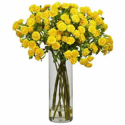 Nearly Natural Japanese Silk Flower Arrangement in Yellow