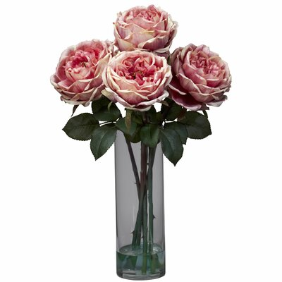 Fancy Rose with Cylinder Vase Silk Flower Arrangement in Pink
