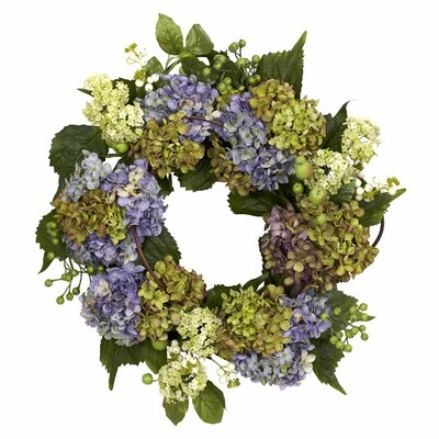 "Nearly Natural 22"" Hydrangea Wreath"