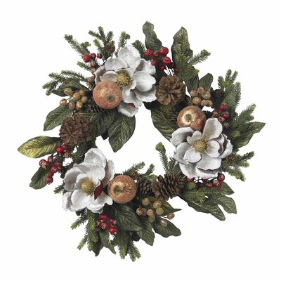 "Nearly Natural 24"" Magnolia Pinecone & Berry Wreath"