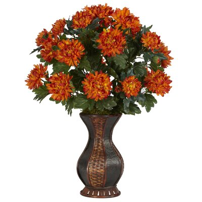 Nearly Natural Spider Mum Desk Top Plant in Urn