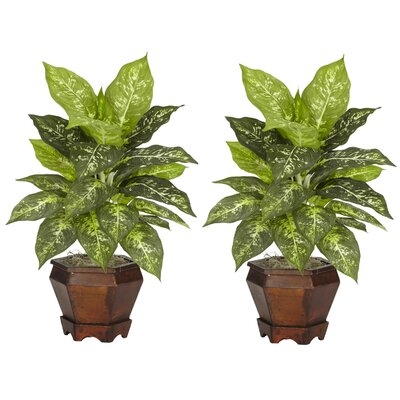Nearly Natural Dieffenbachia in Variegated with Wood Vase Silk Plant (Set of 2)
