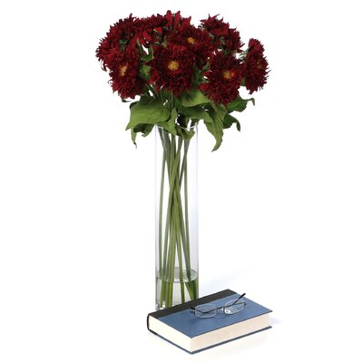 Nearly Natural Sunflower with Cylinder Silk Flower Arrangement in Red