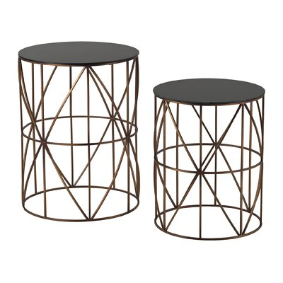 Sterling Industries 2 Piece Bradfield Drum Side Table Set
