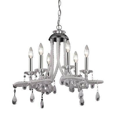 6 Light Mini Chandelier in White