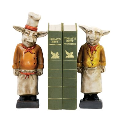 Sterling Industries Two Piece Chef Pig Bookend Set