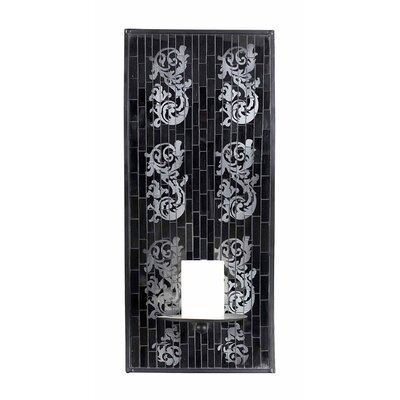 Mosaic Candle Sconce with Wall Art in Black