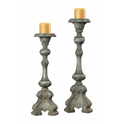 Sterling Industries Resin Florentine Carved Candlestick (Set of 2)