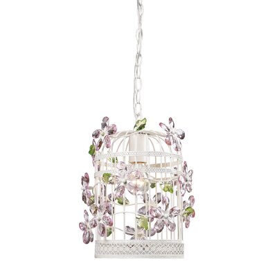1 Light Bird Cage Crystal Foyer Pendant