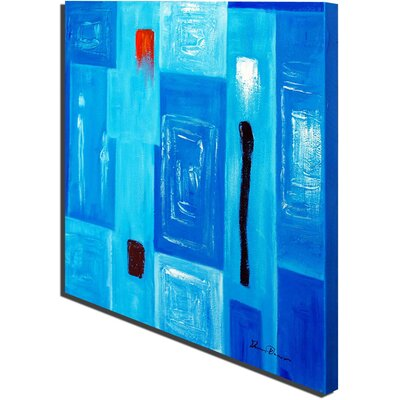 White Walls Hand Painted 'Baby Modern Blue' Canvas Art in Blue