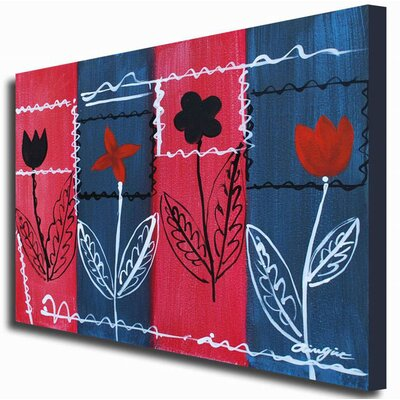 White Walls Hand Painted 'Patchwork Bouquet' Canvas Art