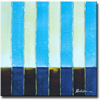 White Walls 'Baby Blue Stripes' Canvas Art in Blue