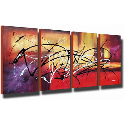 White Walls Hand Painted 'Abstract Aftermath' Canvas Art Set