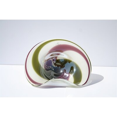 White Walls Hand Blown Decorative Dish in Green and Purple