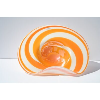 Hand Blown Decorative Dish in Orange and White