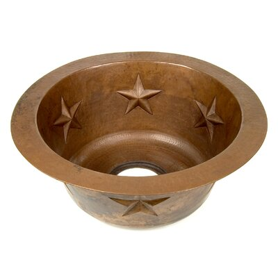 D'Vontz Round Texas Star Embossed Copper Prep Sink
