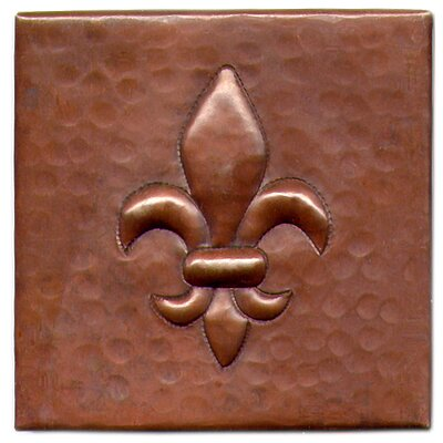 "D'Vontz Fleur De Lis 4"" x 4"" Copper Tile in Dark Copper"