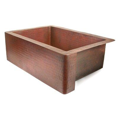 """D'Vontz Copper 33"""" x 22"""" Single Bowl Farmhouse Kitchen Sink"""