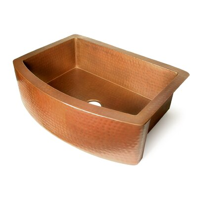 "D'Vontz Copper 36"" x 22"" Single Bowl Curved Front Farmhouse Kitchen Sink"