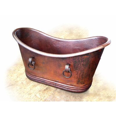 """D'Vontz Isabella Copper 71"""" x 37"""" Large Slipper Tub with Rings"""