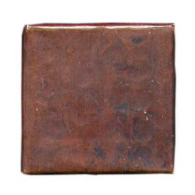 "D'Vontz Plain Hammered 4"" x 4"" Copper Tile in Dark Copper"