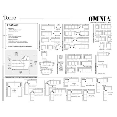Omnia Furniture Torre Leather Sofa